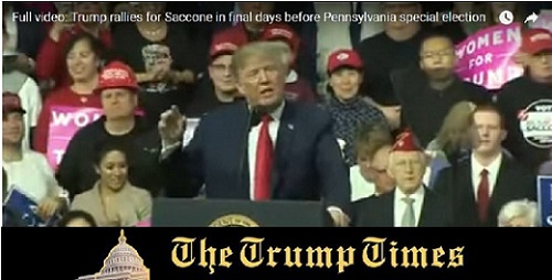 VIDEO: Trump Rally in Pennsylvania for Saccone 3.11.18