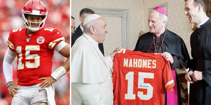 Pope Francis receives Patrick Mahomes KC Chiefs jersey
