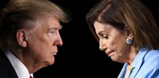 Donald Trump Republican and Nancy Pelosi Democrat