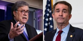 DOJ Bill Barr, Virginia Gov Ralph Northam